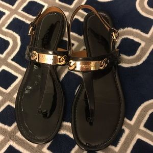 Coach black Catering slingback thong, 9.5